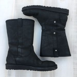 Ugg Black Leather Snap Button Boots